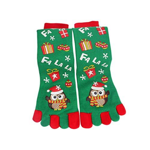 Amosfun 1 paar kerst teen sokken met ballons patroon vijf vinger katoen sokken Xmas lange sokken winter warme sokken atletische hardloopsokken voor kerst geschenken (rood)