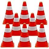 12 Cônes de Signalisation d'Entraînement, 23cm - Orange & Blanc - Cônes de Circulation, Plot pour Enfants, Jeux, Sport, Agilité, Football, Rugby, Entrainement, Dressage de Chien.