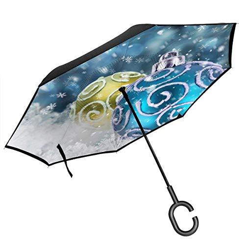 Umkehr-Regenschirm mit großem Stick, zusammenklappbar, winddicht, UV-Schutz, schnelltrocknend, C-förmiger Griff, blau-grüne Blumenzwiebeln, Winter, Schneeflocken, Neujahr, Weihnachten, für Auto, Regen im Freien, 8 Skelett