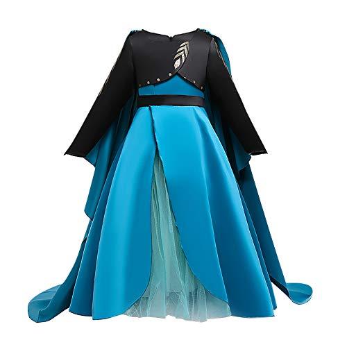 IWEMEK Disfraz Anna Niña Vestido de Princesa Ana con Capa Accesorios Set Traje Carnaval Halloween Navidad Fiesta Theme Fancy Dress Costume Regalos de cumpleaños Outfits D: Azul 4-5 años