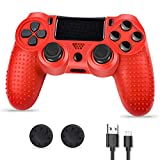 Evaliss PS4 Controller, Controlador PS4, Mando PS4, Mando Inalámbrico Gamepad Compatible con Playstation 4 (Rojo)