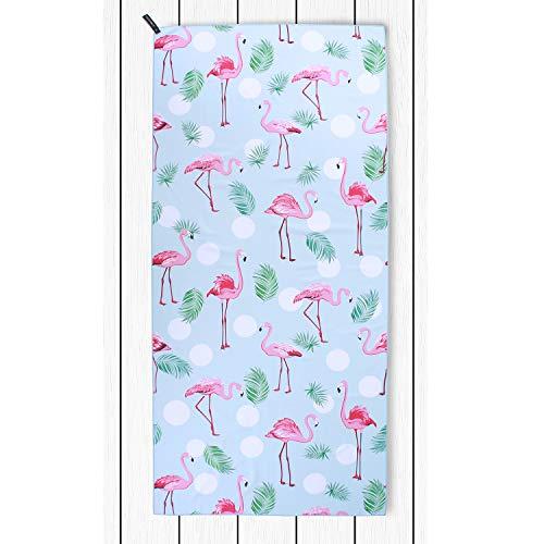 DecoKing Strandtuch 80x180 cm Mikrofaser kühlend schnelltrocknend leicht saugstark Anti Sand Flamingo Badetuch Duschtuch Sporthandtuch Reisehandtuch weiß rosa blau Lagoon