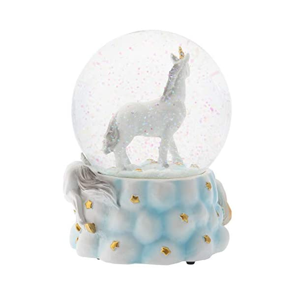 Elanze Designs White Unicorn Friends 100MM Musical Water Globe Plays Tune You are My Sunshine 6