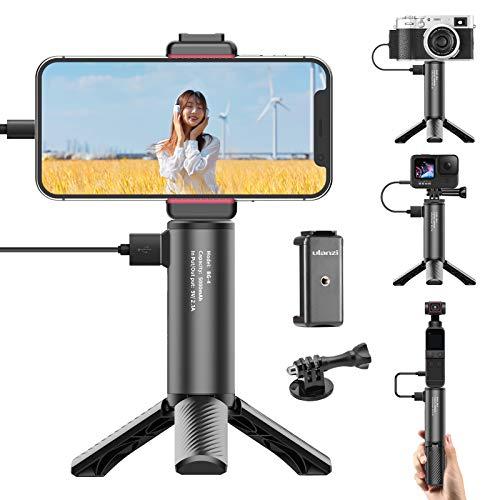 Ulanzi カメラハンドグリップ 充電式 +三脚 +スマホホルダー +goproに対応アダプター 5000mAh iPhone 12/12 pro/11/11 pro/Samsung/Google OnePlus/Sony/Gopro Hero 9/8/7/Gopro Max/Sony a6400/a6500/a6600/Canon g7x markii/mark3/Nikon DSLR カメラに対応 「日本語説明書付け」 12ヶ月保証 BG-4