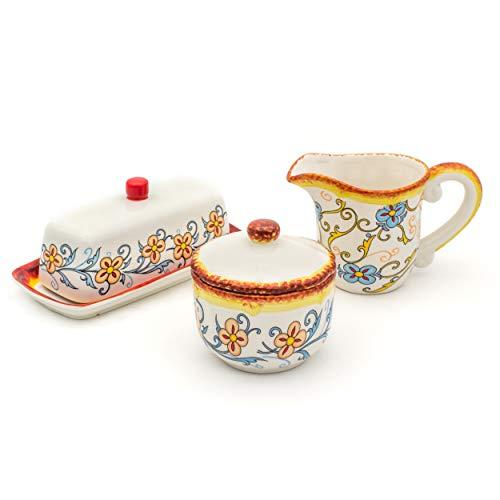 Euro Ceramica Duomo Collection Servingware, 3-Piece Breakfast Table Necessities Set, Gold and Cream