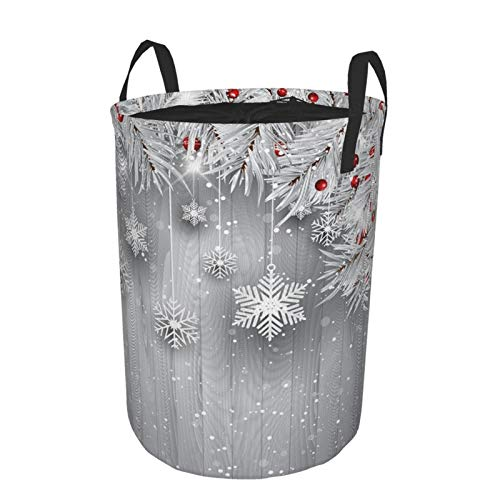 JOSENI Collapsible Large Clothes Hamper for Household,Hanging Snowflakes With Silver Christmas Tree,Storage Bin Laundry Basket Waterproof with Drawstring,16.5' x 21.6'