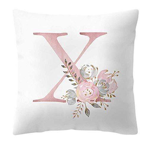 Funda de cojín - 45 x 45 cm - Letra X - Inicial - Nombre - Alfabeto - Cojín decorativo - Sofá - Cama - Casa - Dormitorio - Rosas - Flores - Color blanco y rosa