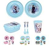 Vajilla infantil de 6 piezas de Frozen para niños y niñas. Contiene plato, vaso, tenedor, cuchillo, cuenco y sandwichera (Frozen - 6pcs)