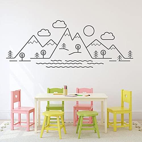 Mountain view muurstickers kinderkamer baby klaslokaal art deco behang vinyl muurstickers woondecoratie 63×163 cm