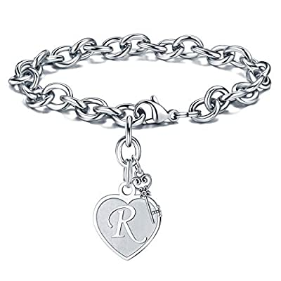 Initial Bracelets Valentines Gifts - Engraved R Initial Charm Bracelet Stainless Steel Handmade Dainty Heart Letters Bracelet Womens Valentine's Day Birthday Jewelry Gifts for Women Teen Girls
