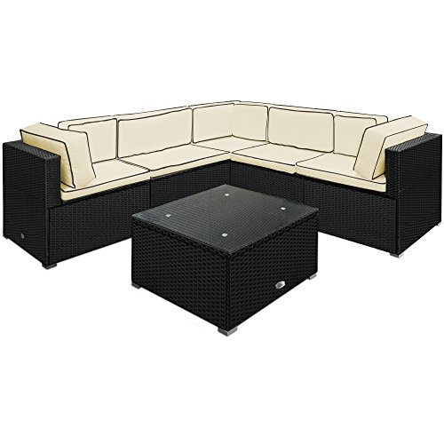 Deuba Poly Rattan Garden Furniture Corner Sofa Set Black 20 Pieces Patio Conservatory Outdoor Wicker Lounge Settee