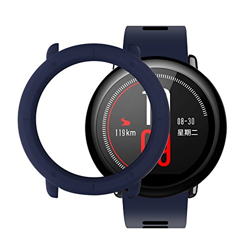 Amazfit Sport Smart Armband R&en Hülle Bildschirmschutz SIKAI Ultra-Slim Colorful Rahmen Skin Cover Schützen Shell für Amazfit Pace Stylische Schutzhülle Tasche Case (Mitternacht Blau)