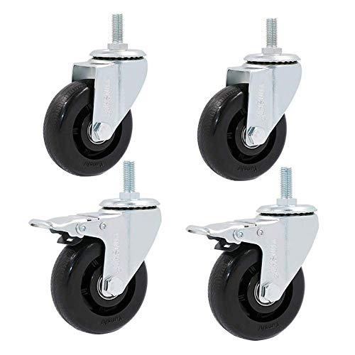 HUIYUAN Casters Heavy Duty M12 × 30mm Lange Spindelgewinde Castor Räder Universalschwenkbrems Industrie Transport 300kg