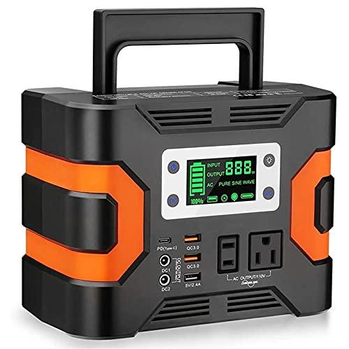 Centrale Elettrica Portatile 11. 0V 330W. Camping Power Pack 300Wh 81000mah Generatore Solare CPAP. Alimentatore della Batteria di Riserva Facile da Trasportare (Colore : Black+Orange, Size : 330W)