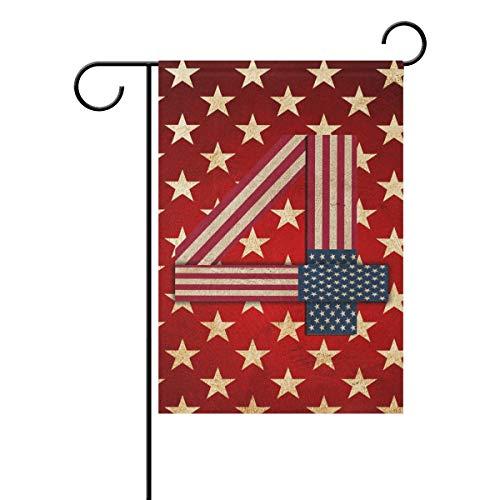 REFFW Banner Home Garden Flag Vintage Art Star 4 de Julio Hogar de jardinería para decoración de césped al Aire Libre de Doble Cara