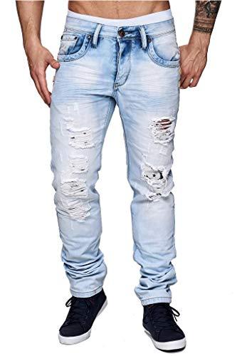 ArizonaShopping Herren Jeans Hose Slim Fit Destroyed Stretch Tapered, Farben:Hellblau, Größe Jeans:W30
