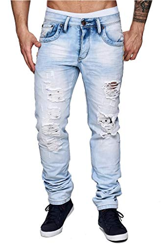 ArizonaShopping Herren Jeans Hose Slim Fit Destroyed Stretch Tapered, Farben:Hellblau, Größe Jeans:W30
