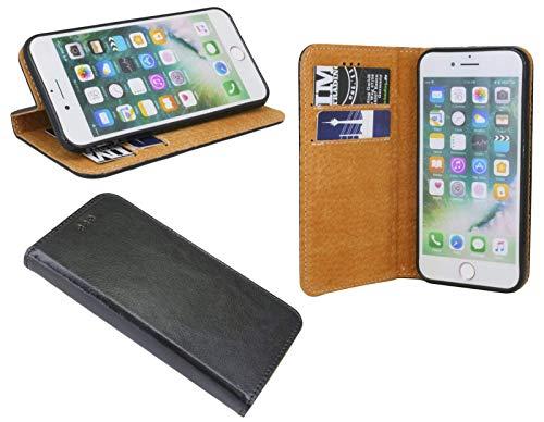 cofi1453 Elegante ECHT Leder Buch-Tasche Hülle kompatibel mit Samsung Galaxy A21S (A217F) in Schwarz Wallet Book-Style Cover Schale