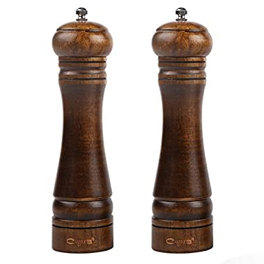 8  Salt and Pepper Grinder Mill Shakers (Set of 2), Premium Solid Wood, Grinding Muller Tool with Adjustable Ceramic Grinder