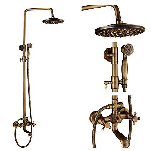 Rozin Bathroom Rainfall Shower Tub Faucet Set 8-inch Top Showerhead + Handheld Spray Antique Brass