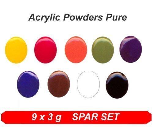 Acrylique Color Poudre Pure couleurs * colaxy acrylique en poudre 9 x 3 g Pure Set *