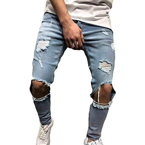 Jeans da Uomo Pantaloni Distrutto Pantaloni Denim Moda Casual Skinny Strappati Pants Jeans con Tasche