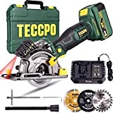Circular Saw, TECCPO 18V Cordless Multifunction Mini Circular Saw, 4.0Ah Rechargeable Battery, 1H Fast...