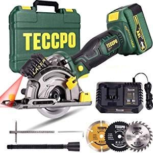 Preisvergleich Produktbild Akku Handkreissäge,  TECCPO 18V 4.0Ah Akku,  1 Std. Schnellladegerät,  Laserführung,  3 Kreissägeblätter Ø89 mm,  Handkoffer -TDMS23P