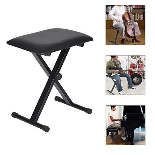 Find Discount INiubi Piano Bench Keyboard Bench Height Adjustable Foldable X-Style Padded Stool Chai...