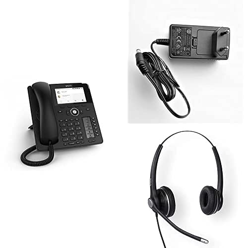 Snom D785 + A6 + A100D IP VoIP SIP Phone Premium Office Bundle Including Power Supply and A100D Binural Headset, Quick Release adapters, Hands Free EHS upgradable