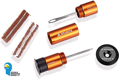 Stash Tubeless Flat Tire Repair Bike Tire Puncture Kit - Easy Handlebar Storage - Complete Kit - 2 Different Size Tire Plugs - Portable - Easy and Effortless Usage (Orange)