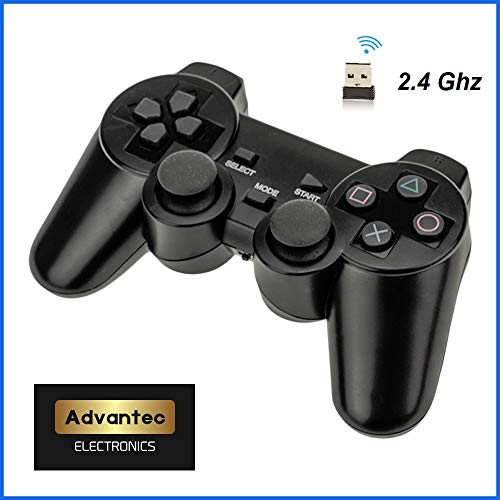 ADVANTEC Wireless USB 2.4Ghz PS3 PS2 Playstation Controller DoubleShock Vibration for Raspberry Pi, Windows, PC, Apple