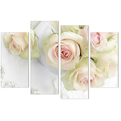 ZISITA Rosa Bianco Fiore della Rosa di Arte della Parete della Tela di Canapa Pittura Nordica Minimalismo Poster E Immagini Stampe Parete per Living Room Decor,XXL