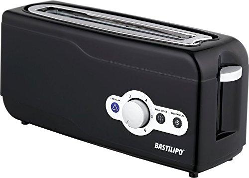 Bastilipo TR-750 Tostador de rebanada ancha, automático, 6 niveles, 750 W, Plástico, Negro