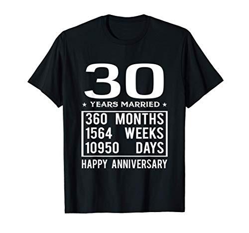 30 anni di matrimonio felice anniversario di matrimonio Maglietta