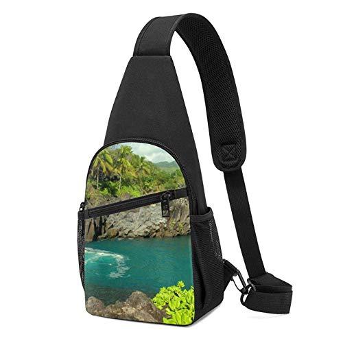 DJNGN Bolso bandolera plegable pequeño Nature Ocean Sea Hawaii Beach, mochila tipo bandolera, mochila para el pecho, mochila para senderismo, viajes, compras, uso diario, regalos para hombres y mujere