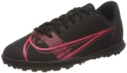 Nike Jr Vapor 14 Club TF, Football Shoe, Black/Black-Cyber-Siren Red, 37.5 EU