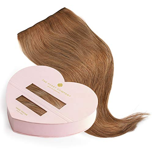 THE HEART COMPANY Premium Clip-in Extensions Echthaar (10 Clip-in Haartressen 160g Set) - Länge 50 cm - Farbe Light Brown - Hellbraun