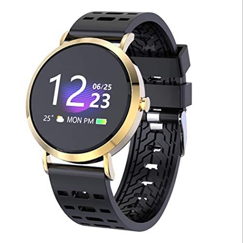 RHBKW Fitnesstracker slaapmonitor Smart Watch Anti-verloren Bluetooth sporthorloge met weersvoorspelling wekker voor wandelen fietsen voetbal, goud