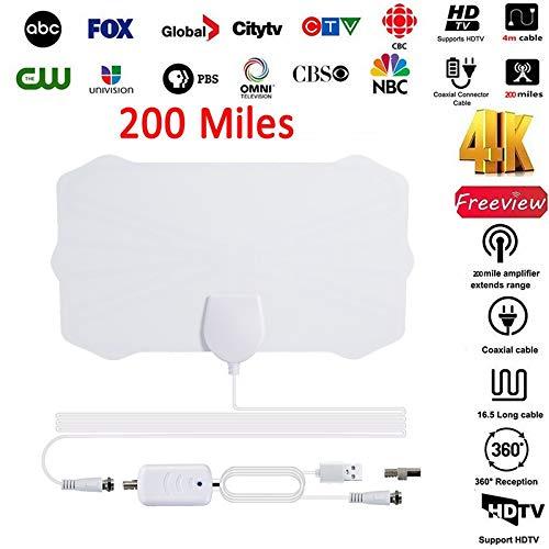 BangHaa [Mejorado 2020 Antena de TV, TV de Alta definición Digital Amplificado Antena Interior Largo 130 Millas de Alcance, UHF VHF 4K HD 1080P for los Canales Locales: Amazon.es: Electrónica