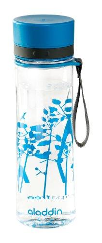 Aladdin AVEO Trinkflasche aus Tritan-Kunststoff, 0.6 Liter, Blue Poppy, Auslaufsicher, Durchsichtig, Wasserflasche Fahrradflasche