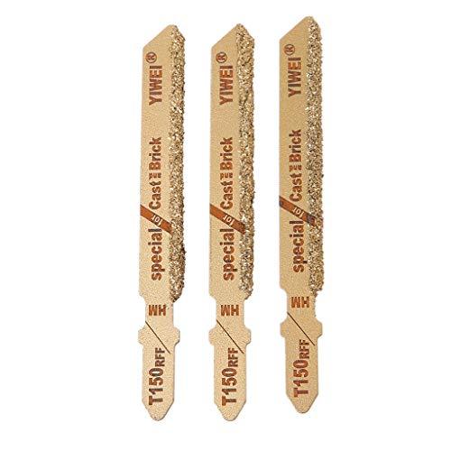 ER-NMBGH 3 Stück 75 mm Sägeblätter T150 Karbid-Körnung 50 T-Stück Stichsägeblätter Keramikfliesen-Schneidewerkzeug, T-Schaft Stichsäge, perfekt zum Schneiden, Sägeblätter, Goldfarbe