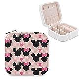 Caja de joyería de Mickey Mouse Minnie de piel sintética, portátil, para collar, pendientes, pulseras, anillos, relojes, expositores, cajas de joyería para mujeres