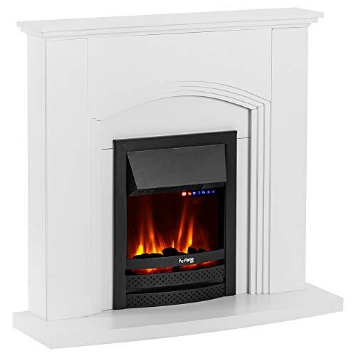 e-Flame USA Abbotsford Electric Fireplace Stove Mantel Surround - 45-inch - Elegant White Gloss Finish