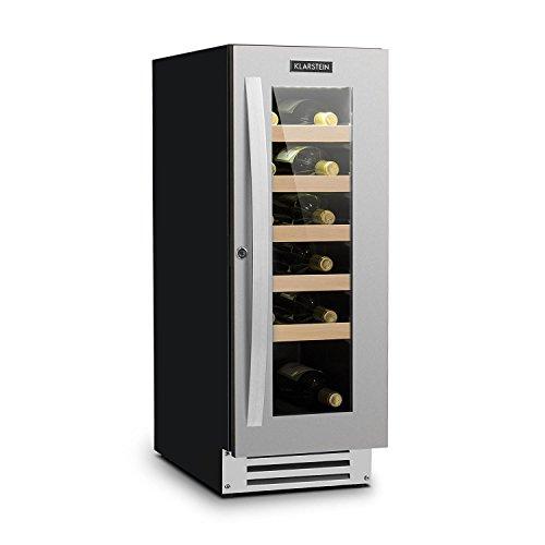 Klarstein VinovillaSmart Wine Refrigetator - Cooler, Fridge, 50 L, 20 Bottles, Glass Door, Elegant, Premium Storage, Activated Carbon Filter, 5 Wooden Bays, Stainless Steel, Black/Silver