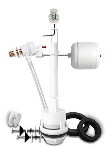 Fominaya 0149015215 Descargador Duna 3 con tirador estrecho + grifo lateral, 3/8 latón, color cromo, Negro, Estandar