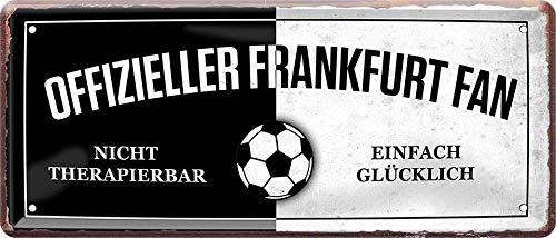 Blechschilder Hier wohnt EIN Frankfurt Fan/Offizieller Frankfurt Fan/Ich Bin Frankfurt Fan Deko Metallschild Schild Artikel Geschenk zum Geburtstag oder Weihnachten (Schwarz (28x12))