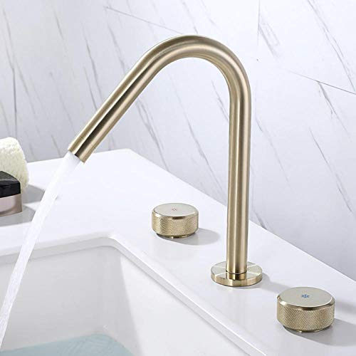 Rubinetto per lavabo in ottone nero Rubinetto per lavabo in oro lucido Rubinetto per acqua calda e fredda 3 fori in oro spazzolato