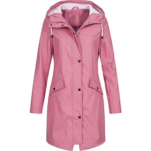 DongYuYuXuXi Raincoat vrouwen ondoorlaatbaar waterdicht winddicht regenjas windjack plus-size Medium roze