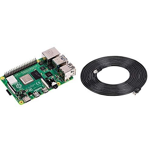 Raspberry Pi 4 Modell B; 4GB, ARM-Cortex-A72 4 x, 1,50GHz, 4GB RAM, WLAN-ac, Bluetooth 5, LAN, 4 x USB, 2 x Micro-HDMI & Amazon Basics – High-Speed-Patchkabel, RJ45 Cat7, Gigabit-Ethernet, 6 m